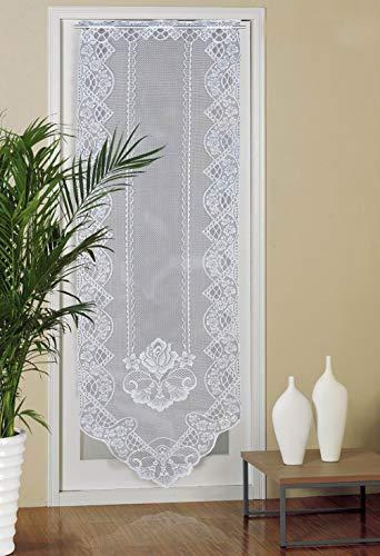 Panel de cortina de puerta, 2 paneles de 30 x 180cm, con estampado de lino, diseño de panel de puerta francesa, cortinas vintage para puerta de cristal, color blanco (3)