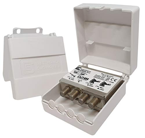Elettronica Cusano Mix-LTE-VUU - Mezclador de Antena VHF/UHF con Filtro LTE, Mezclador de mástil de 3 entradas: VHF y 2 UHF (21-60), Conector F, atenuación de Paso 4dB, Gris