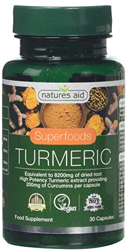 Natures Aid Turmeric 8200 mg, High Potency Extract plus Whole Herb, 200 mg Curcumins, Vegan, 30 Capsules