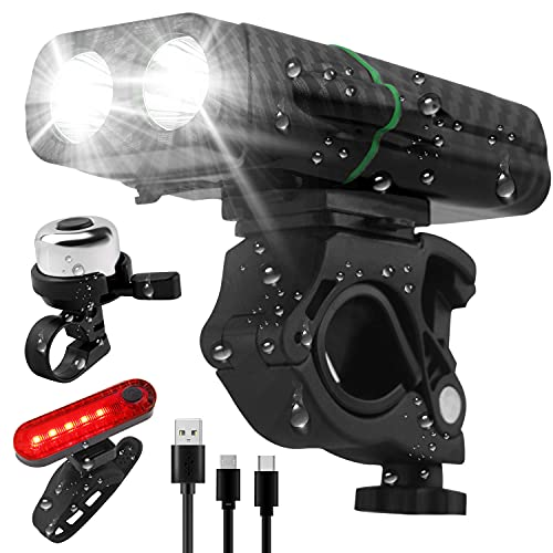 YMNL Rechargeable Bike Lights Set,3000mAh Cycling Headlight Front Light with Power Bank Function,Bicycle Lights & Back Lights IPX5 Waterproof 5 Modes Fits All Bicycles(With Bells)