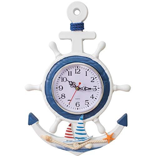 S.W.H Ancla Retro Reloj de Pared Sala de Madera Timón Reloj