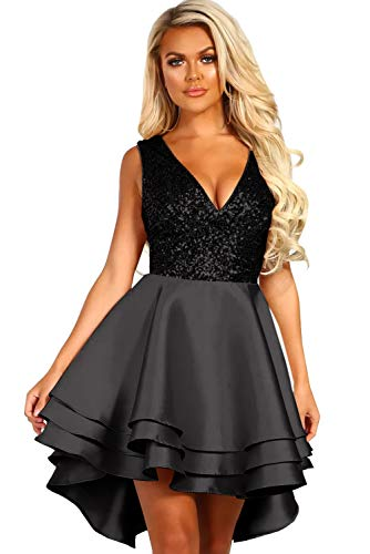 emmarcon Abito Corto Cerimonia Donna Vestito Party Decorato con Paillettes Scollo a V-Black-IT40/S