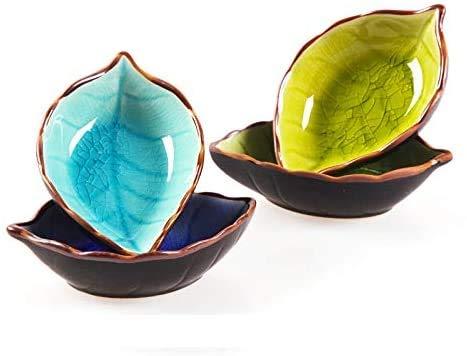 MonLiya 4 Pcs Sauce Dishes, Leaves-Shape Dishes Plates Ceramics Mini Side Seasoning Dish Condiment Dishes