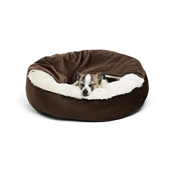 Best Friends by Sheri Cozy Cuddler, – Luxury Dog and Cat Bed with Blanket for Warmth and Security – Offers Head, Neck and Joint Support – Machine Washable, Water-Resistant Bottom – For Small Pets Up to 25lbs, Medium Pets Up to 35lbs