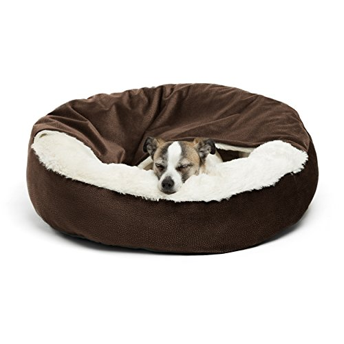 Cozy Cuddler, Dark Chocolate – Dog and Cat Bed with Blanket for Warmth and Security - Offers Head, Neck and Joint Support - Machine Washable, Pets up to 25 lbs., Chocolate Ilan 24x24'
