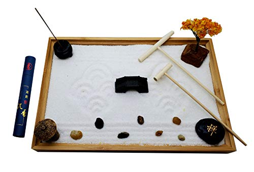 Zenfy Zen Garden Kit - Desktop Mini Japanese Sand Garden Kit with Bamboo Tray, 50 Incense Candles,...