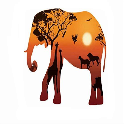 Hinleise Adhesivo decorativo para pared, diseño de elefante, diseño de atardecer dorado