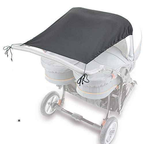 Sonnensegel UV50+ für den Zwillingskinderwagen nebeneinander mit Dach 92/61x67 cm aus Microfaser Kinderwagenzubehör Babyzubehör Sonnenschutz Babybedarf mit Befestigungsgummi Zwillingswagen Sonne