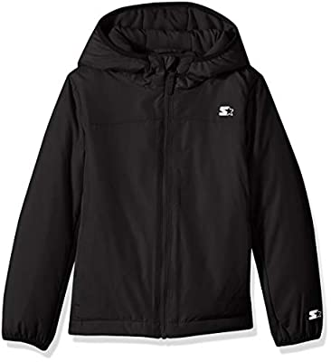 Starter Girls' Insulated Breathable Jacket, Amazon Exclusive, Black, XL