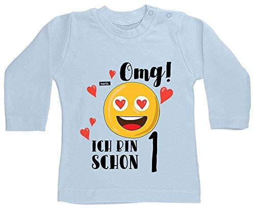 """Hariz - Camiseta de manga larga para bebé, diseño de emoji con texto """"Ich Bin Schon Eins Emoji"""""""