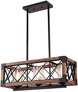 Giluta Kitchen Island Pendant Light Rectangle Wood Metal Chandelier Black Finish Rustic Industrial Chandelier Vintage Ceiling Light Fixture 3 Lights with Seeded Glass Shade (17809)