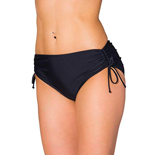 Aquarti Damen Bikinihose mit Raffung und Schnüren, Farbe: Schwarz, Größe: 40