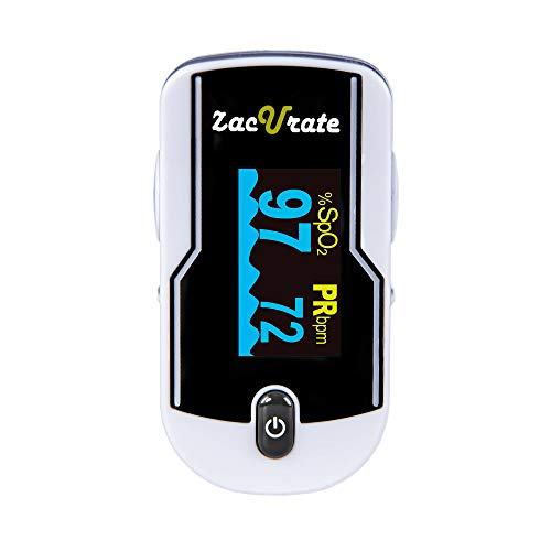 Zacurate 500E Premium Fingertip Pulse Oximeter Oximetry Blood Oxygen Saturation Monitor with Silicon Cover, Batteries and Lanyard