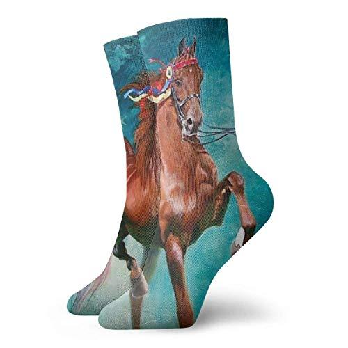 Adamitt Calcetines de tripulación unisex Calcetines deportivos casuales deportivos de caballo Calcetines informales transpirables cómodos