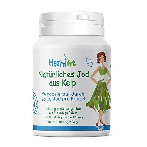 25µg Natürliches Jod aus Kelp - 120 Mini Kapseln extra niedrig dosiert - bei Jodempfindlichkeit Schilddrüse Hashimoto klein fein dosierbar