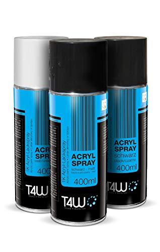 T4W Acryl Lack 1K Sprühfarbe Autolack Spray Schwarz Matt - 400ml (59095)