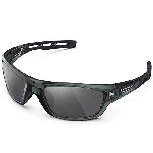 TOREGE Polarized Sports Sunglasses for Man Women Cycling Running Fishing Golf TR90 Unbreakable Frame TR07 Steath Man (Transparent Grey&Black&Grey Lens)