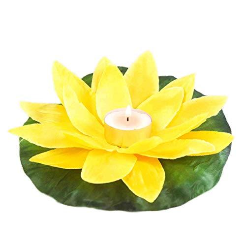 EUTOPICA Pack 50 Velas Flor para Piscina, flotantes, con Forma de nenúfar, Polyester (Amarillo)
