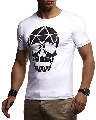 Leif Nelson Herren Sommer T-Shirt Rundhals-Ausschnitt Slim Fit Baumwolle-Anteil Basic Männer Totenkopf T-Shirt Crew Neck Hoodie-Sweatshirt Kurzarm lang LN4345 Weiß Large