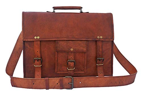 15 inch Genuine Leather Messenger Bag - Crossbody...