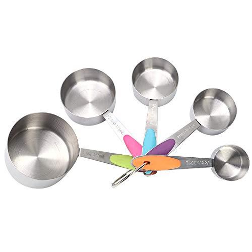 Copos de balança, copos de medição de cozimento, cabo de silicone multifuncional 5pcs em aço inoxidável para cozinha doméstica(Measuring cup five-piece set)