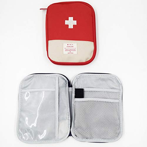 Travel Mini First Aid Pouch, Portable Mini First Aid Kit Storage Bag for Medicine Boxes WishLotus Medical Kits Empty Bag for Sports Camping Hiking Outdoor Activities Emergency (Red)