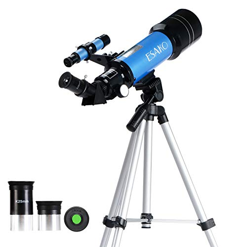ESAKO Telescope for Kids & Beginners 70mm Portable Astronomical Refractor Telescopes with Phone Mount & Remote Control Gift for Birthday… (Blue)