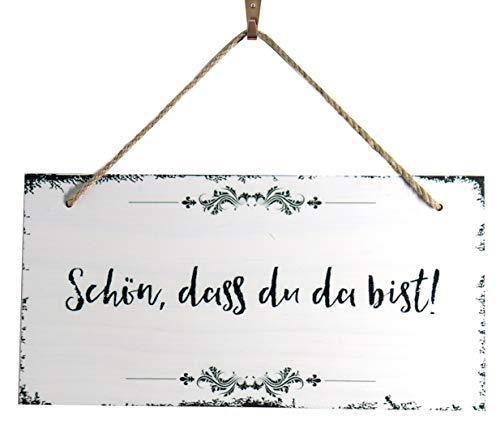 OYEFLY Schön, DASS du da bist - Dekoschild Türschild Wandschild aus Holz 30x15cm(11.8x5.9inch) - Holzdeko Holzbild Deko Schild (Stil 1)
