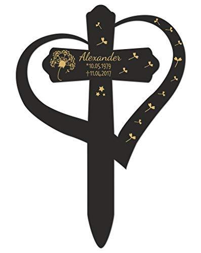 Livingstyle & Wanddesign Personalisiertes Grabkreuz mit Herz, Pusteblume 2 in Schwarz, groß 60 x 42 cm