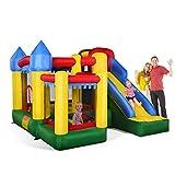 COSTWAY Château Gonflable Aire de Jeux en Oxford avec Toboggan Boule Panier et Gonfleur pour Enfant Multicolore 300 x 300 x 210 CM