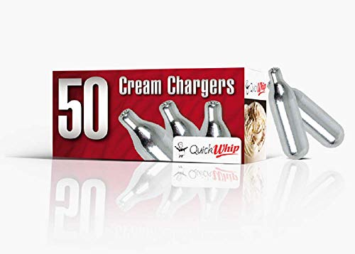 QuickWhip Cream Chargers 600 (50 packs x 12 boxes), 8.0 grams Pure Nitrous Oxide, N2O Cartridges for Whipped Cream Dispensers, Compatible with Standard Cream Dispensers