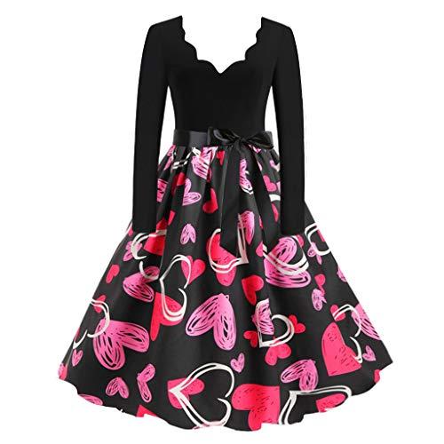 Vestido Vintage de San Valentin Mujer Vestidos 1950s Pin Up Elegante Vestido Cintura Estampadas Vestido Fiesta de Manga Larga Cuello en V Disfraz 3D Print Flores Yvelands(A,L)