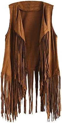 Tsmile Women Autumn Winter Cardigan Faux Suede Ethnic Sleeveless Tassels Fringed Vest Middle product image