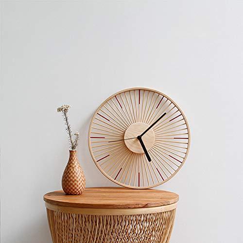 Reloj de pared de madera maciza de bambú de estilo japonés moderno y minimalista, silencioso, personalidad creativa y pastoral (color: A, tamaño de la hoja: 12 pulgadas)