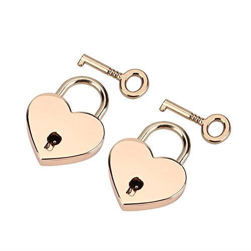 FTVOGUE 2 set små hjärtformade hänglås minilås ros hjärta kärlek nyckel metalllås med nyckel för smyckeskrin förvaringslåda dagbok bok alla hjärtans dag present