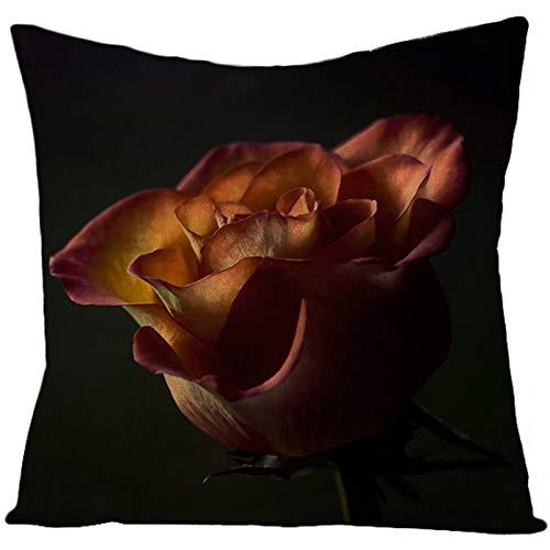 KnBoB Funda de Almohada Lino Flor Rosa Negro Rojo 50 x 50 cm Estilo 30