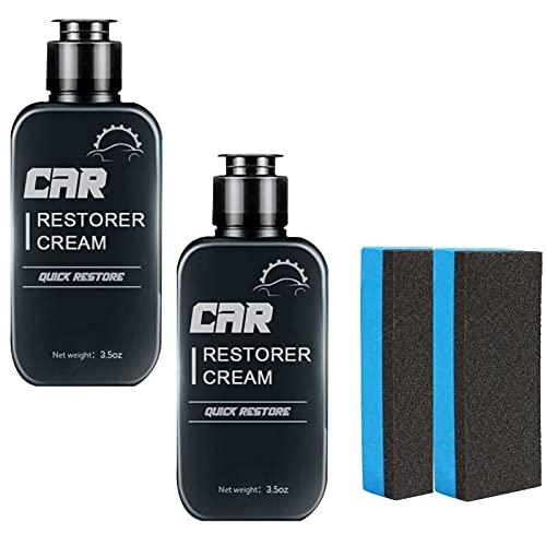 Crema de reparación de cuero y plástico de 100 ml, reparación rápida, crema de enfriamiento lavable para reparación de automóviles, superficie de plástico y cuero envejecido, 2 esponjas gratis