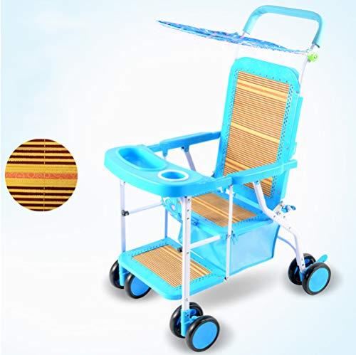 verano Carrito de bebé ligero Rota de imitacion Puede sentarse en una silla de mimbre Bebé 1-3 años Niño Bambú Paseante,blue,94 * 72 * 46cm