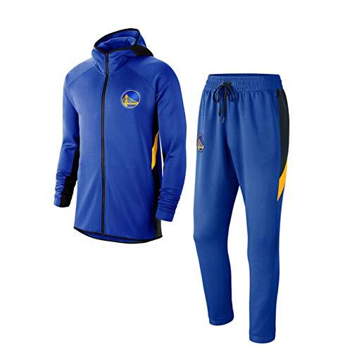 Golden State Warriors Hoodies – Herren Basketball-Trainingskleidungs-Set Sweatshirt und Sweatpants Swingman Trikots Full Zip Sweatshirt (S-3XL) Gr. XXL, blau