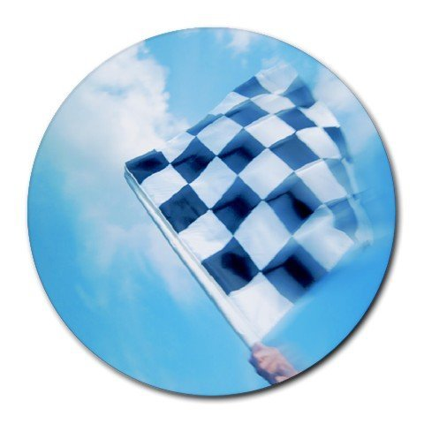 Race Car Checkered Flag Sport Round Mouse Pad