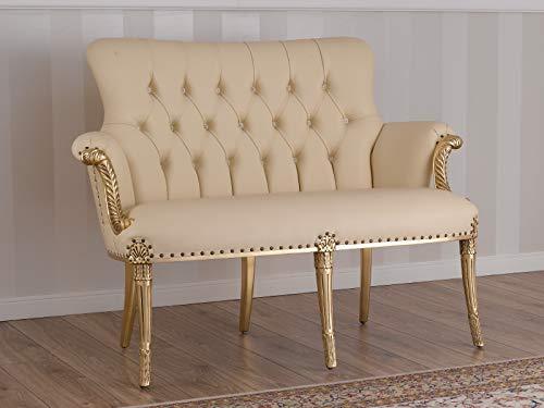 SIMONE GUARRACINO LUXURY DESIGN Sofá Katrin Estilo Barroco Francese Color Hoja Oro Eco-Piel Champagne Botones Crystal Sw