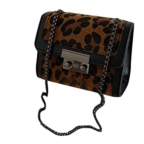 Cealu Bolso de viaje pequeño de piel de leopardo para teléfono celular, pasaporte, ligero, con cadena espaciosa, Multi color (A), Large