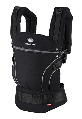 manduca First Baby Carrier > Black Line PhantomGrey < Baby-Carrier/Babytrage für Neugeborene und Kinder, Bio-Baumwolle, für Babys von 3,5 bis 20kg (schwarz-grau)
