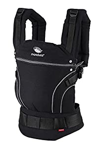 manduca First Mochila Portabebes > BlackLine Phantom Grey < Mochila Portabebes con Cinturon Ergonomico & Extension de Espalda, Algodón Orgánico, para bebés de 3,5 a 20kg (negro-gris)