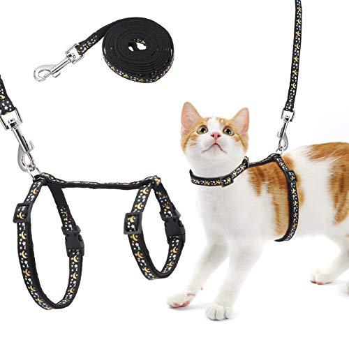 Xinstroe Katzengeschirr mit Blei, verstellbarem, fluchtsicherem Brustgurt mit Sicherheitsschnalle, Katzenleine und Geschirrset für kleine mittelgroße Katzen