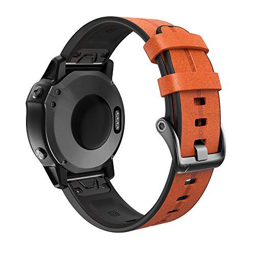 NotoCity Leder Armband für Garmin Fenix 5s /Fenix 5s Plus/Fenix 6s /Fenix 6s Pro 20mm Quick-Fit Ersatz Uhrenarmband(Hellbraun)