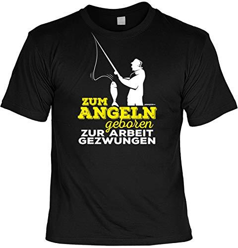 Herren Angler T-Shirt - Zum Angeln geboren - lustige Angel-Shirts Geburtstag Geschenk für Männer Fun-Shirts Bedruckt schwarz