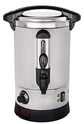 Beeketal \'BGWK5\' Gastro Glühweinkocher 5 Liter Volumen mit Füllstandskala, Anit-Tropf Zapfhahn und stufenlos regelbarem Thermostat (30-110 °C), Profi Edelstahl Wasserkocher mit 1500 Watt Leistung
