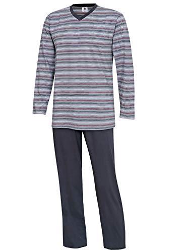 Herren Schlafanzug lang Pyjama-Set Nachtwäsche Hausanzug M L XL XXL 3XL (L)
