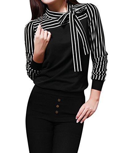 Allegra K Ladies Tie-bow Neck Striped Long Sleeve Splicing Autumn Shirt, Black, L (US 14)